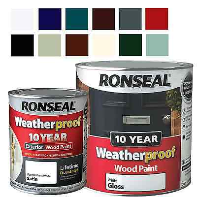 Ronseal Weatherproof 10 Year Exterior Wood Paint Gloss & Satin All Colours 750ml