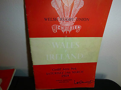 Wales V Ireland Rugby Programme 1959