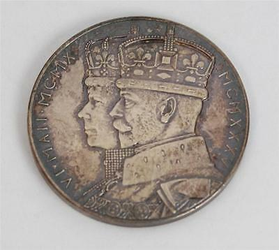 1935 Solid Silver Official Coronation Medal Medallion EF