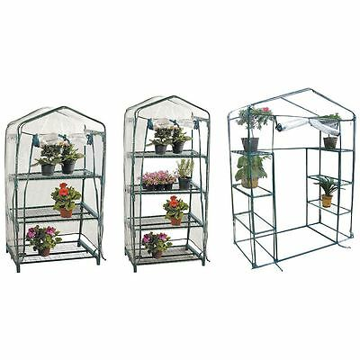 3 4 Walk In Tier Greenhouse Plants Flowers Shelver PVC Cover Frame Garden House