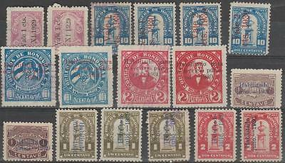 HONDURAS - Various settings of the 1930 overprints. Mint and used