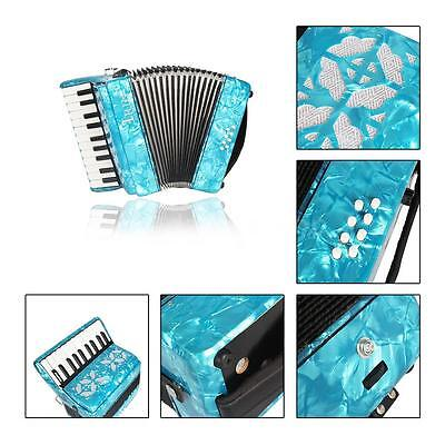 22-Key 8 Bass Piano Accordion with Straps Gloves Cleaning Cloth Blue M0Z9