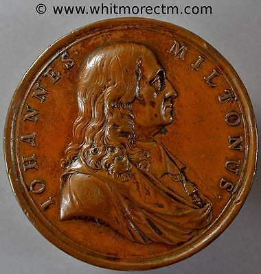 1737 Monument to John Milton Medal 52mm Bronze By Tanner - Q8161