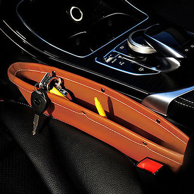 2x Car Seat PU Leather Console Gap Filler Side Pocket and Catcher Organizer
