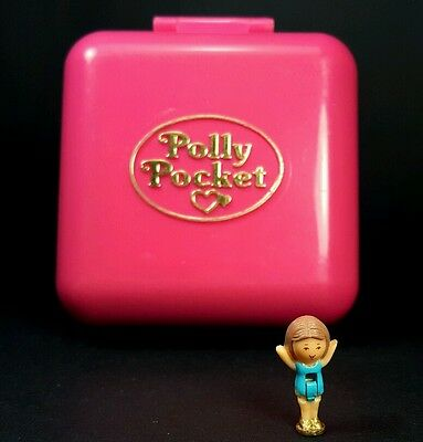 Polly Pocket 1989 POLLY'S WORLD W/1 Doll Vintage Bluebird Pink Square Retro Mini