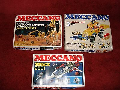 3 boxes of meccano 1 construction, 1 meccanoids and 1 space 2501