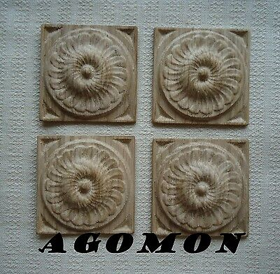 Rosette carved,Agomon,Deco,set of 4 pieces,50x 50 mm, H 10 mm,wood, oak material