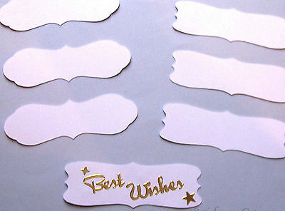 White Speech Banners Embellishments x 12.Great for peel off stickers