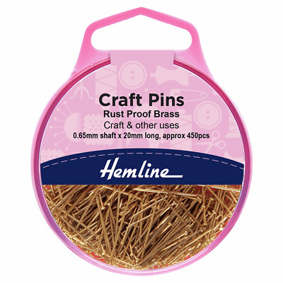Hemline - Craft Pins  Brass 20mm 450pcs