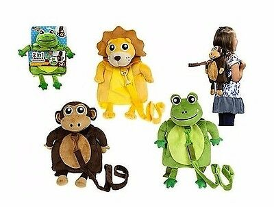 "Toddler Reins Travel Pals Safety Harness & Backpack 12"" Soft Animal"