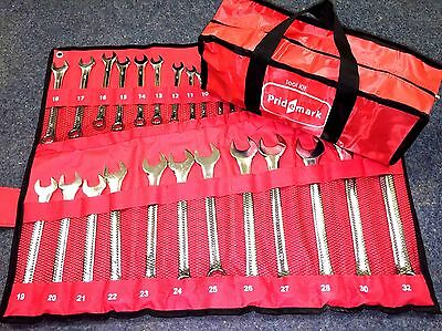 25pc Metric Combination  Spanner Garage Tool Set 6mm-32mm + Free Tool Bag