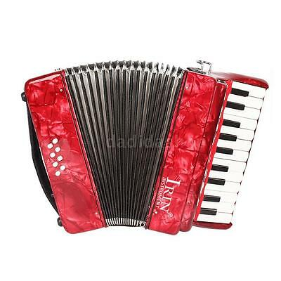 22-Key 8 Bass Piano Accordion with Straps Gloves Cleaning Cloth Red U6X7