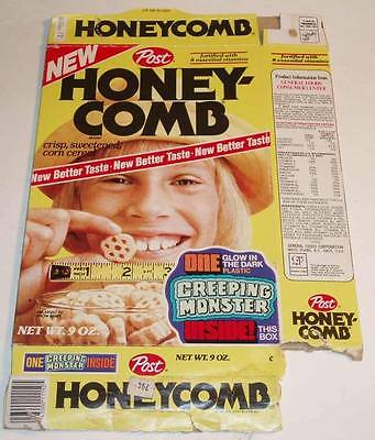 1976 Post Honeycomb creeping monster 9oz. cereal box w/sealed prize FINAL $ DROP