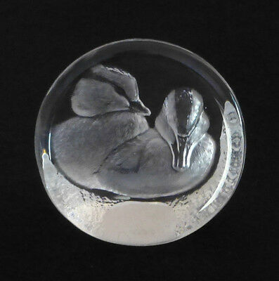 MATS JONASSON Sweden Etched Crystal Glass Paperweight - Two Ducks