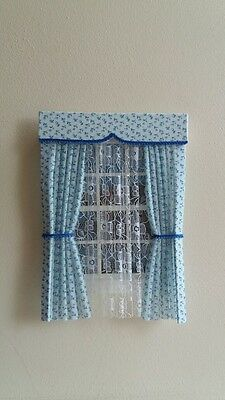 Dolls House Curtains Blue Floral With Full Nets