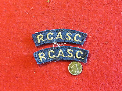 Original Canadian - WWII - Matched RCASC Cloth Shoulder Titles