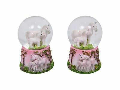 1 x SNOWGLOBE Waterball With UNICORNS Inside & Decoration on Ornament Base 7cm