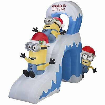 CHRISTMAS AIRBLOWN 10' MINIONS NAUGHTY NICE SLIDE KEVIN,STUART & BOB Gemmy