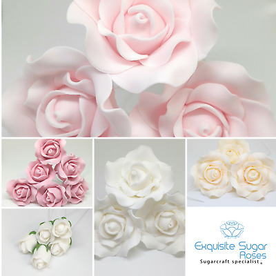 "Sugar Roses 3 1/2""2 1/2""1 1/2"" Buds Wired Flower Wedding Cake Topper Decoration"