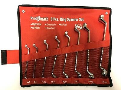 Ring Spanner Wrench set. 8 Metric Ring Spanners with Deep Offset. 6 - 22mm