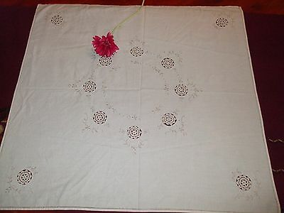 """ON SALE Beautiful Vintage German Hand-Embroidered Tablecloth-32.8"""""""