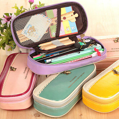 Pencil Pen Case Large Stationery Make Up Cosmetic Brush Bag Storage Pouch UK