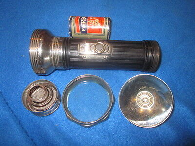 VINTAGE working Eveready FLASHLIGHT # 2616 & D Cell 950 Battery used  FREE POST