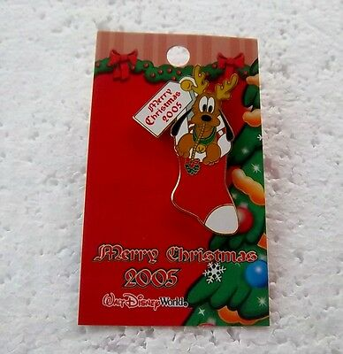 *~*disney Wdw Very Merry Christmas 2005 Pin Pursuit Pluto Stocking Le Pin*~*