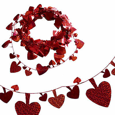"Red 25"" Holographic Shiny Heart Foil Garland - Valentine's Day Fun"