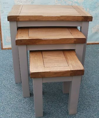 3 Oak top nesting tables with grey painted legs - special offer