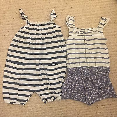Next 9-12 Month Girls Stripe Blue Romper Playsuit Bundle White Flowers