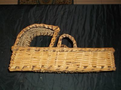 Antique Vintage Wicker Baby Doll Moses Basket FREE SHIPPING