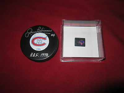Jean Beliveau Signed Habs Puck Autographed Coa Holo Montreal Canadiens