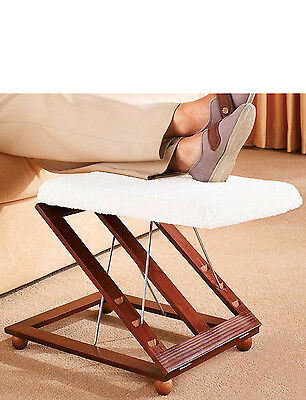 Adjustable Wooden Footstool  with Fleecy Cover 3 settings Foot Rest
