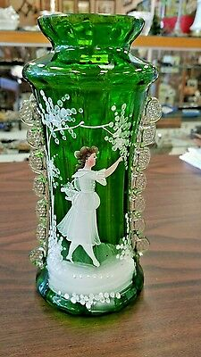 Antique Mary Gregory Green Victorian Vase - Stunning Colors And Design