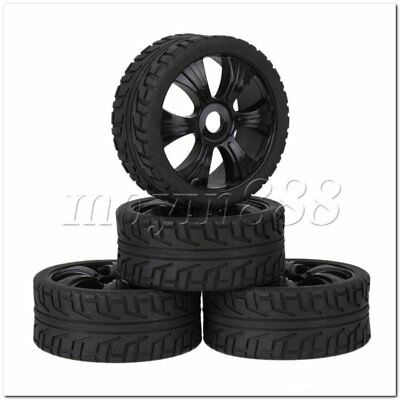 4PCS Black  6 Spoke Wheel Rim And High Grip Rubber Tyre for RC1:8 Off Road Car