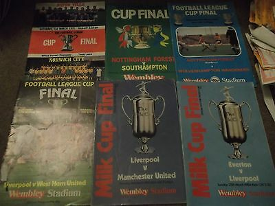 Football League Cup Final Programme Collection 1975 - 1984 X 6