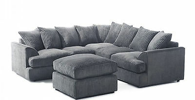 *brand New* Liverpool Jumbo Cord Corner Sofa *available In Deifferent Colours*