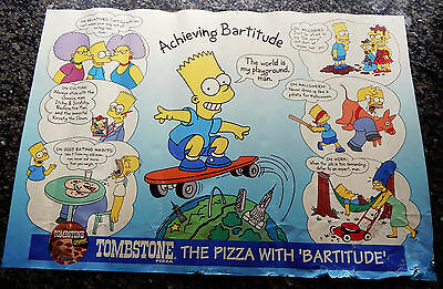 1994 Tombstone Pizza Bart Simpson Achieving Bartitude Poster The Simpsons