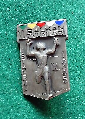 Superb 1935 Istanbul Balkan Games numbered participation badge