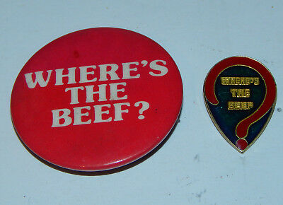Vintage 1980's Where's The Beef? Wendys Question Mark Enamel Pin & Button