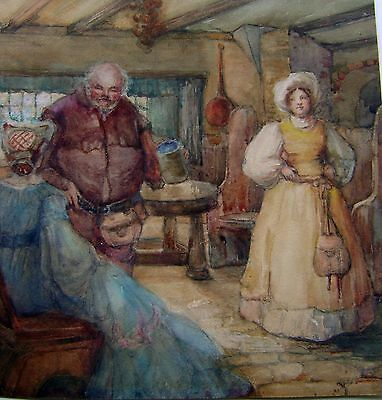 Illustration The Merry Wives Of Windsor Shakespeare W/Col H Houghton C1925