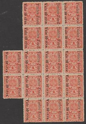 NICARAGUA - 1911 block of 17 Fiscals. Variousf fonts on reverse. Fragile block