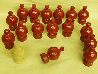 """17 Vintage Wood Wooden Post Tops Finials Architectural Salvage - 4"""" tall"""