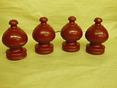 "4 Vintage Wood Wooden Post Tops Finials Architectural Salvage - 5"" tall BIG"