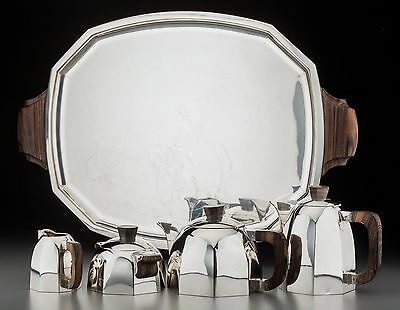 4 Piece Lagriffoul & Laval French Art Deco 950 Silver & Rosewood Tea Service