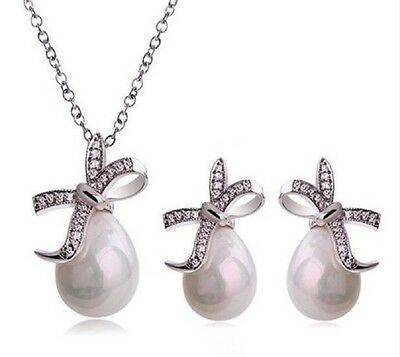 Pear drop Faux Pearl Diamante Rhinestone Crystal bow  Necklace & Earring Set