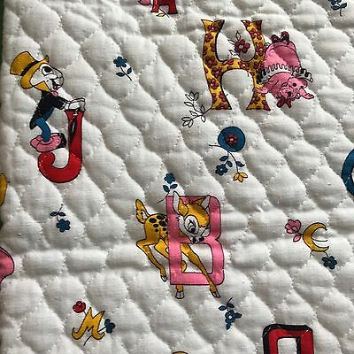 """Vtg Walt Disney ABC Quilted Fabric, Mickey Mouse, Bambi, 29"""" X 40"""" Wide"""