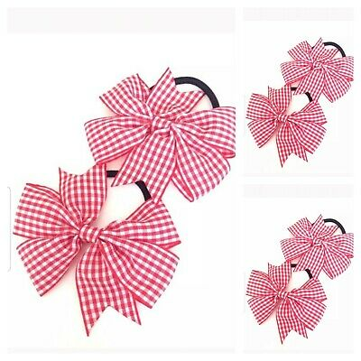 Handmade Girls Red Gingham School  Bow Hair Bobbles Sold In Pairs