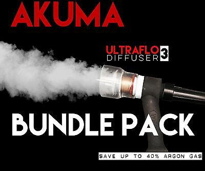 AKUMA Bundle Pack 8 & 12 Pyrex Glass Cup With Gas Diffuser Tig Finger Fupa